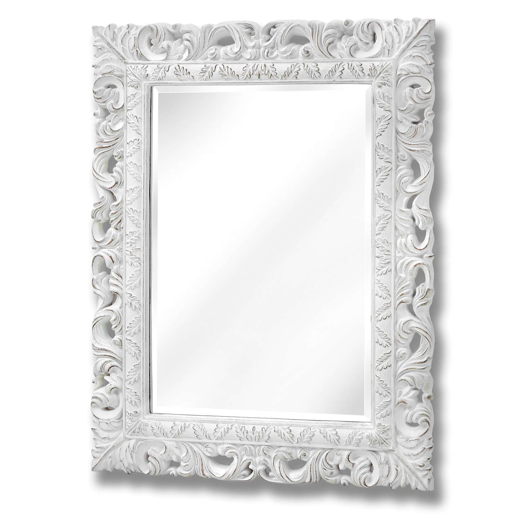 Antique White Ornate Leaf Wall Mirror Pitre Online