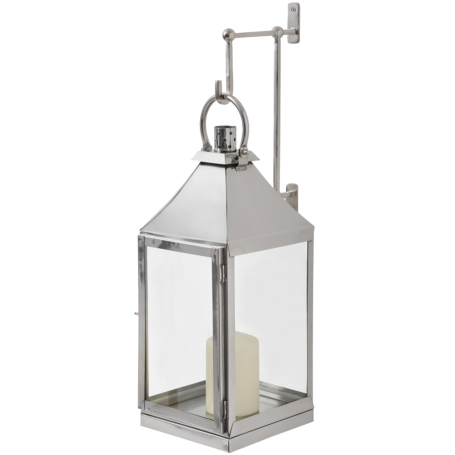 Nickel Lantern With Wall Bracket