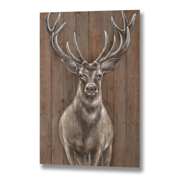 stag on wood effect panel 80cm x 120cm x 31cm